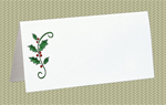 Place Cards, Holly, Green Foil, 10 Place Cards