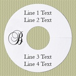 Personalized Wineglass Name Tag, Monogram Smooth Edge, White Paper, 100 Tags