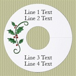 Personalized Wineglass Name Tag, Holly w/ Berries, Green Foil, 100 Tags