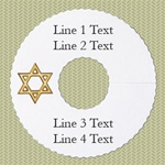 Personalized Wineglass Name Tag, Star of David, Gold Foil, 100 Tags