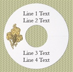Personalized Wineglass Name Tag, Grapes w/ Leaves, Gold Foil, White Paper, 100 Tags