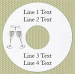 Personalized Wineglass Name Tag, Champagne Glasses, Silver Foil, White Paper Stock, 100 Tags