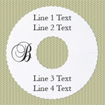 Personalized Wineglass Name Tag, Monogram Deckled Edge, White Paper, 100 Tags